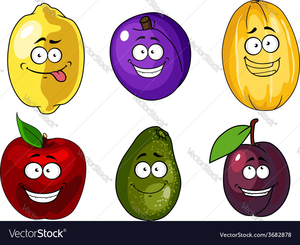 Cartoon apple plums melon lemon and avocado fruits vector