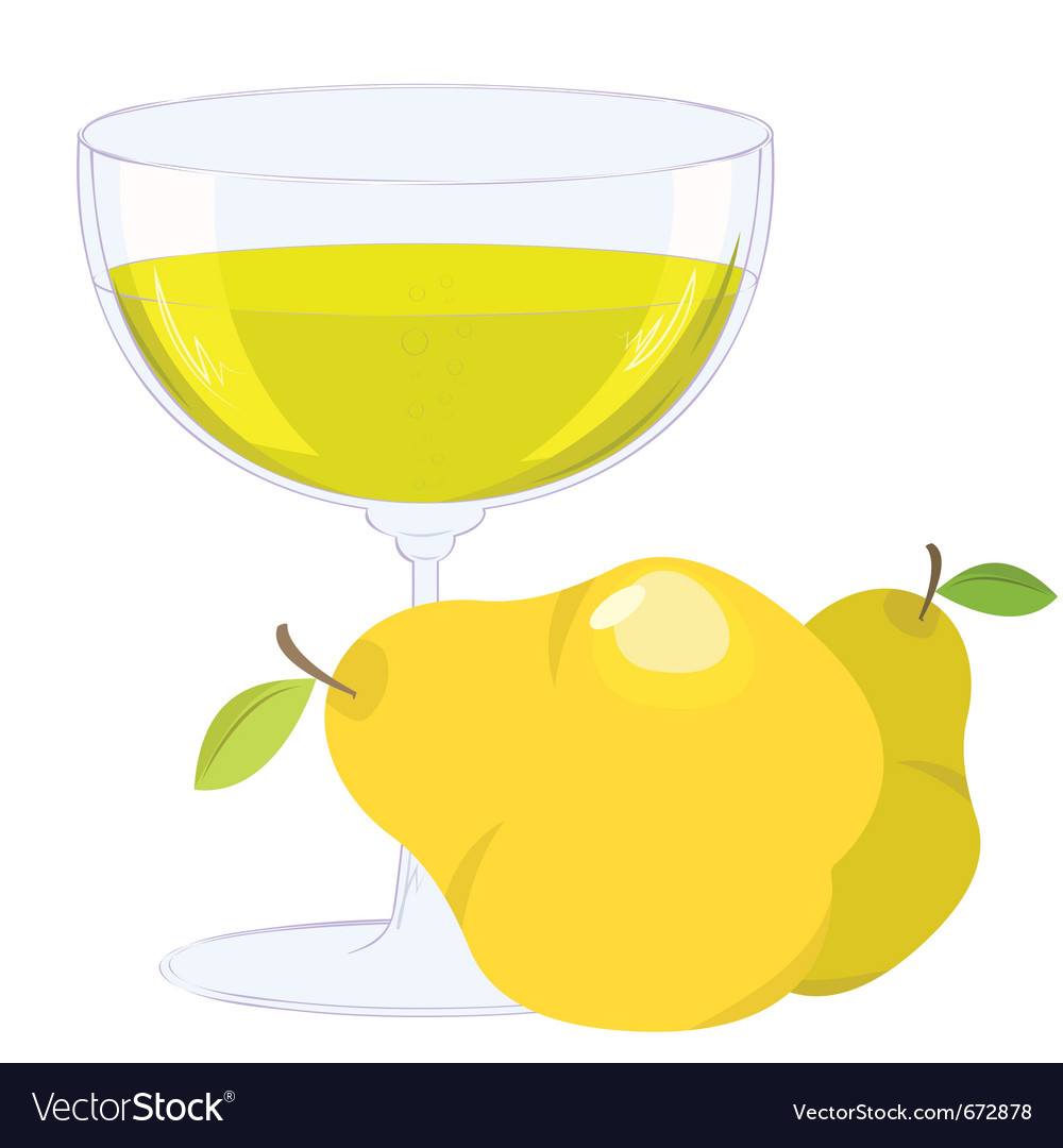 Cup with bubbling lemonade and pears on white back vector | Price: 1 Credit (USD $1)