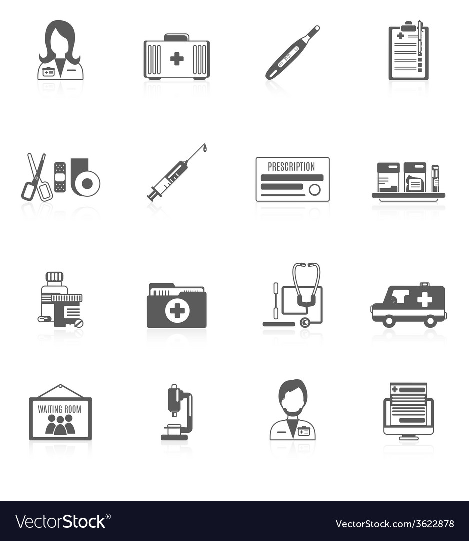 Doctor icon set vector | Price: 1 Credit (USD $1)