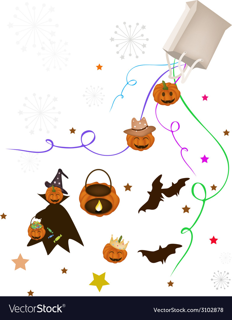 Halloween item and evil falling from paper bag vector | Price: 1 Credit (USD $1)
