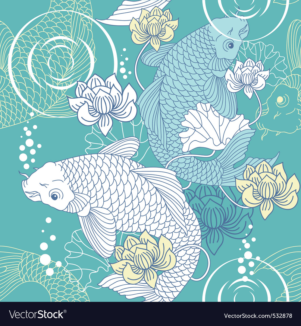 Koi carp seamless vector | Price: 1 Credit (USD $1)