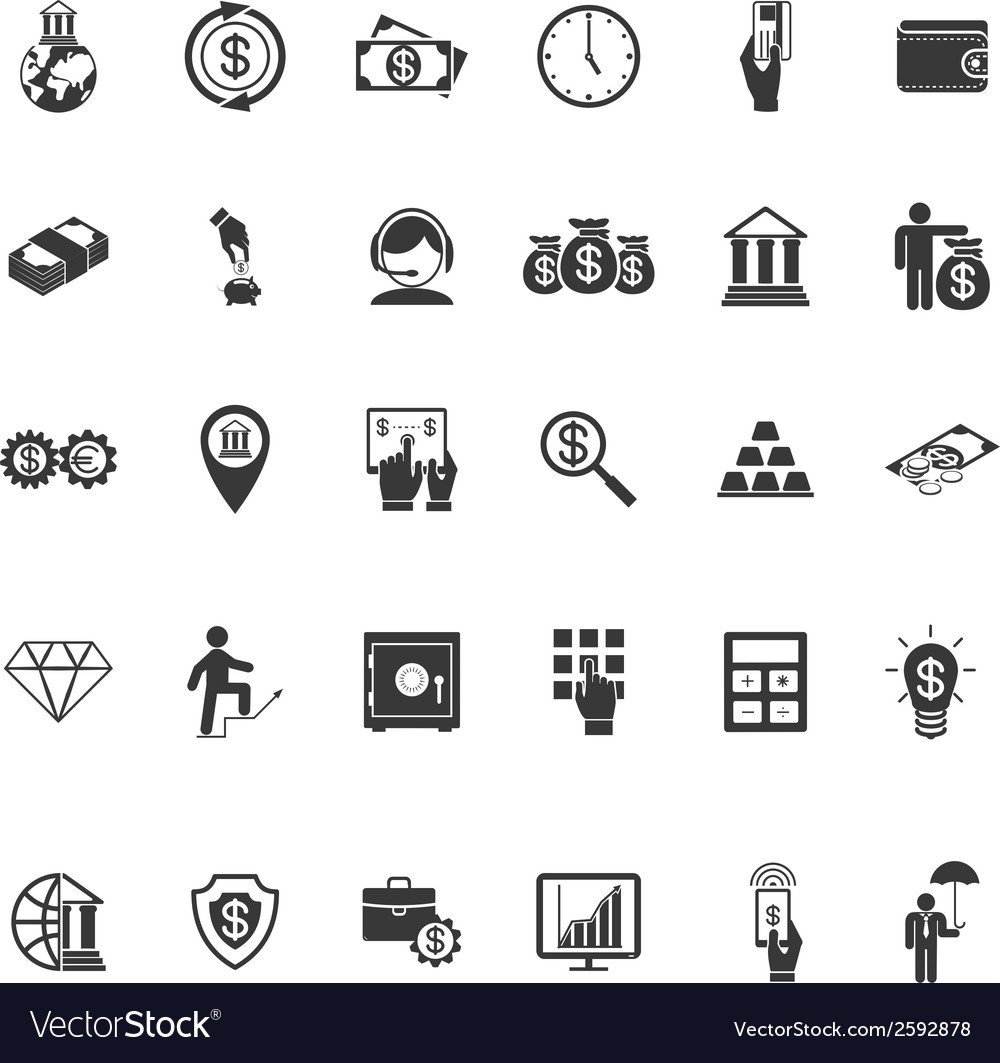 Large set of money banking and finance icons vector | Price: 1 Credit (USD $1)