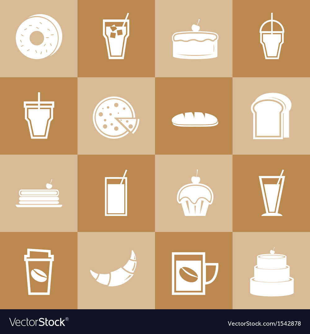 Set of bakery and drinks elements for coffee shop vector | Price: 1 Credit (USD $1)