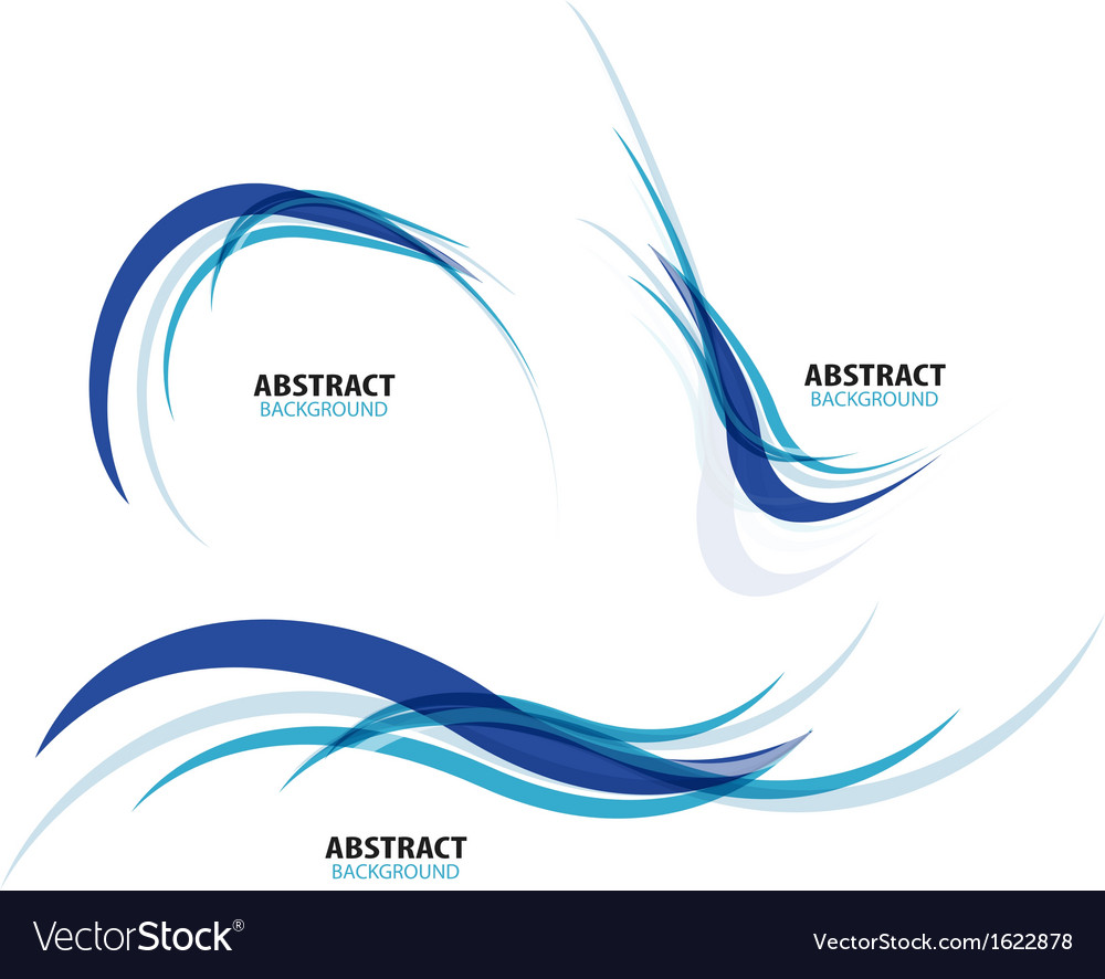 Set of flowing blue wave lines vector | Price: 1 Credit (USD $1)