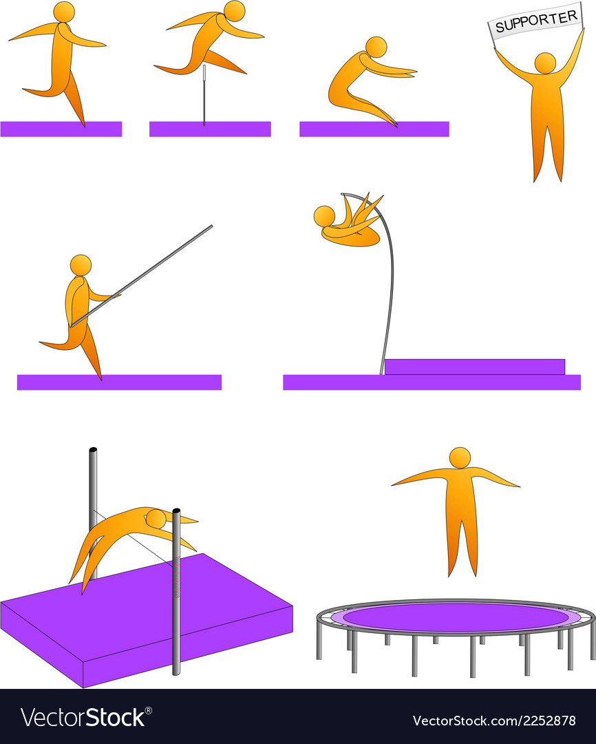 Silhouettes of humans jumping sport vector | Price: 1 Credit (USD $1)