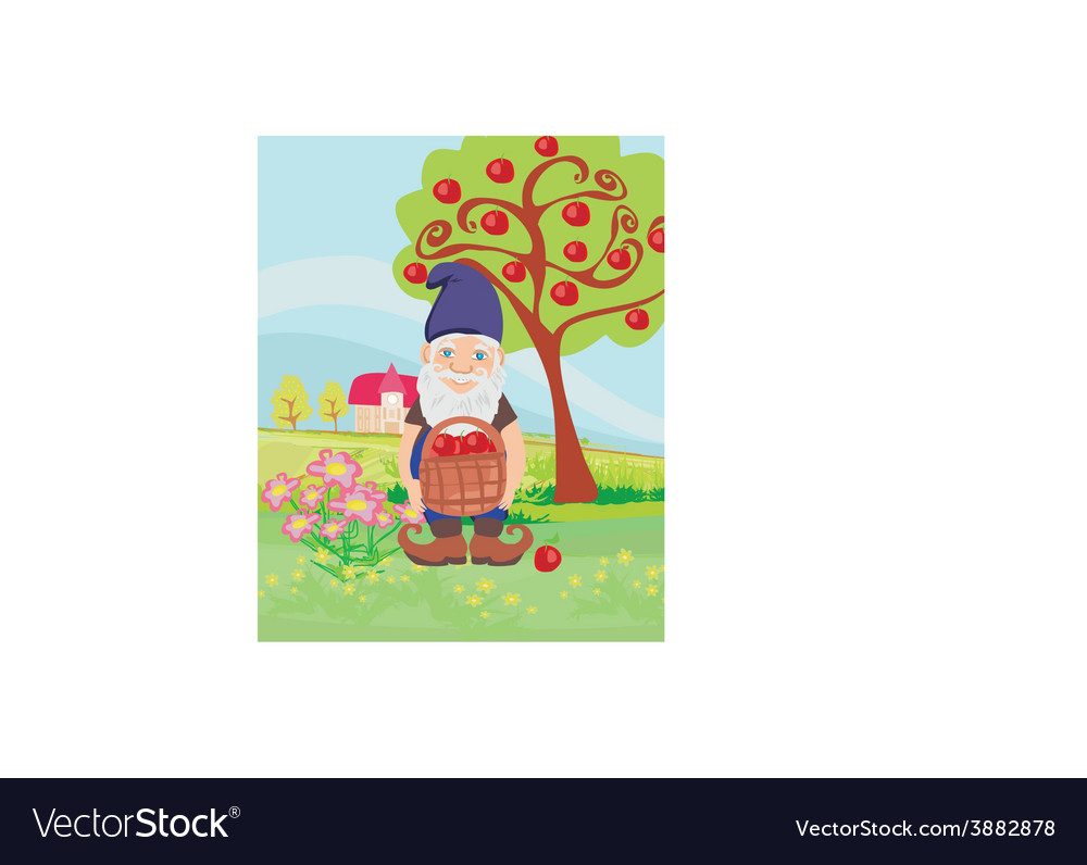 Smiling gnome gardener in the orchard vector | Price: 1 Credit (USD $1)