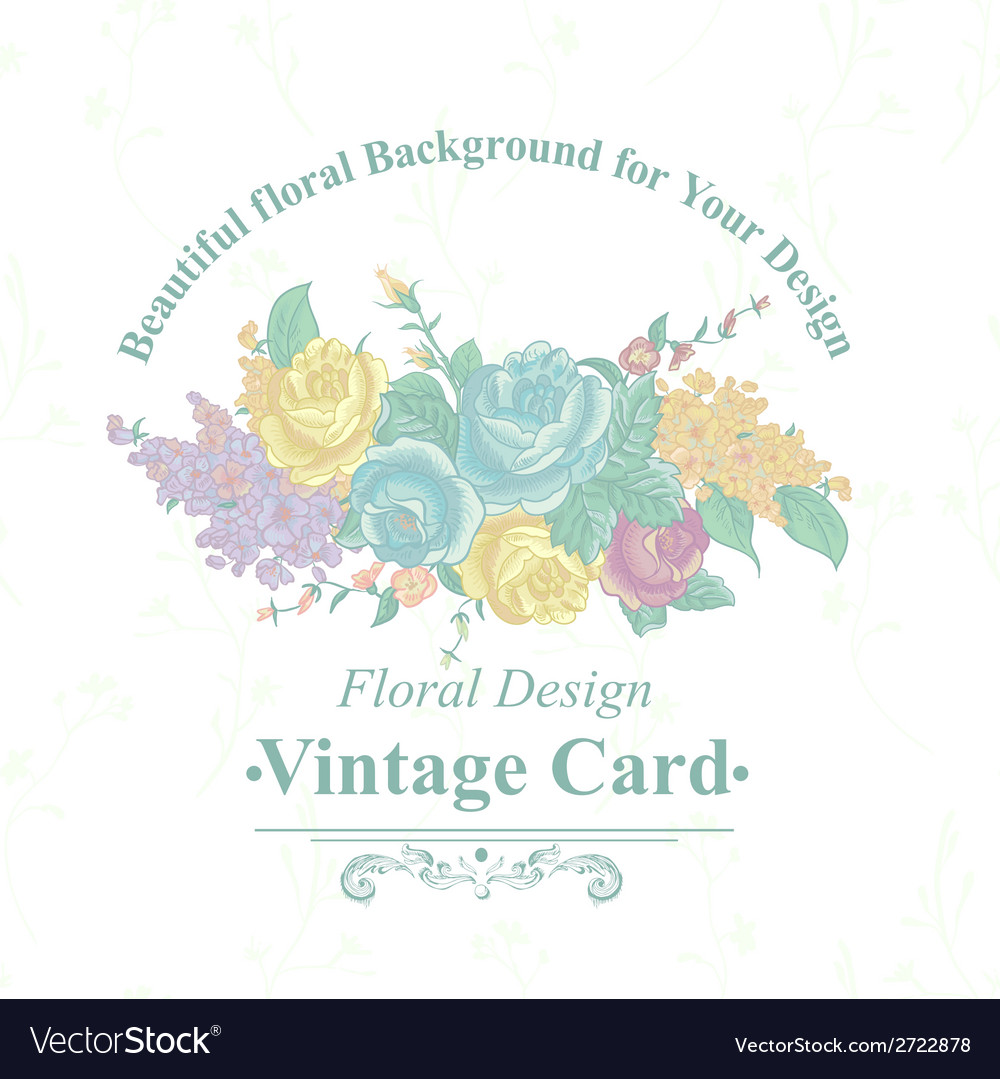 Vintage greeting card with wildflowers vector | Price: 1 Credit (USD $1)