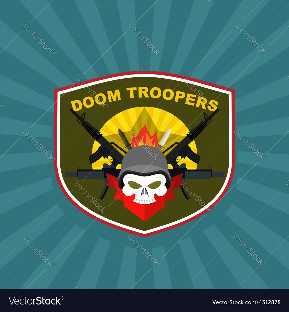 War emblem military logo skull wearing a helmet vector | Price: 1 Credit (USD $1)