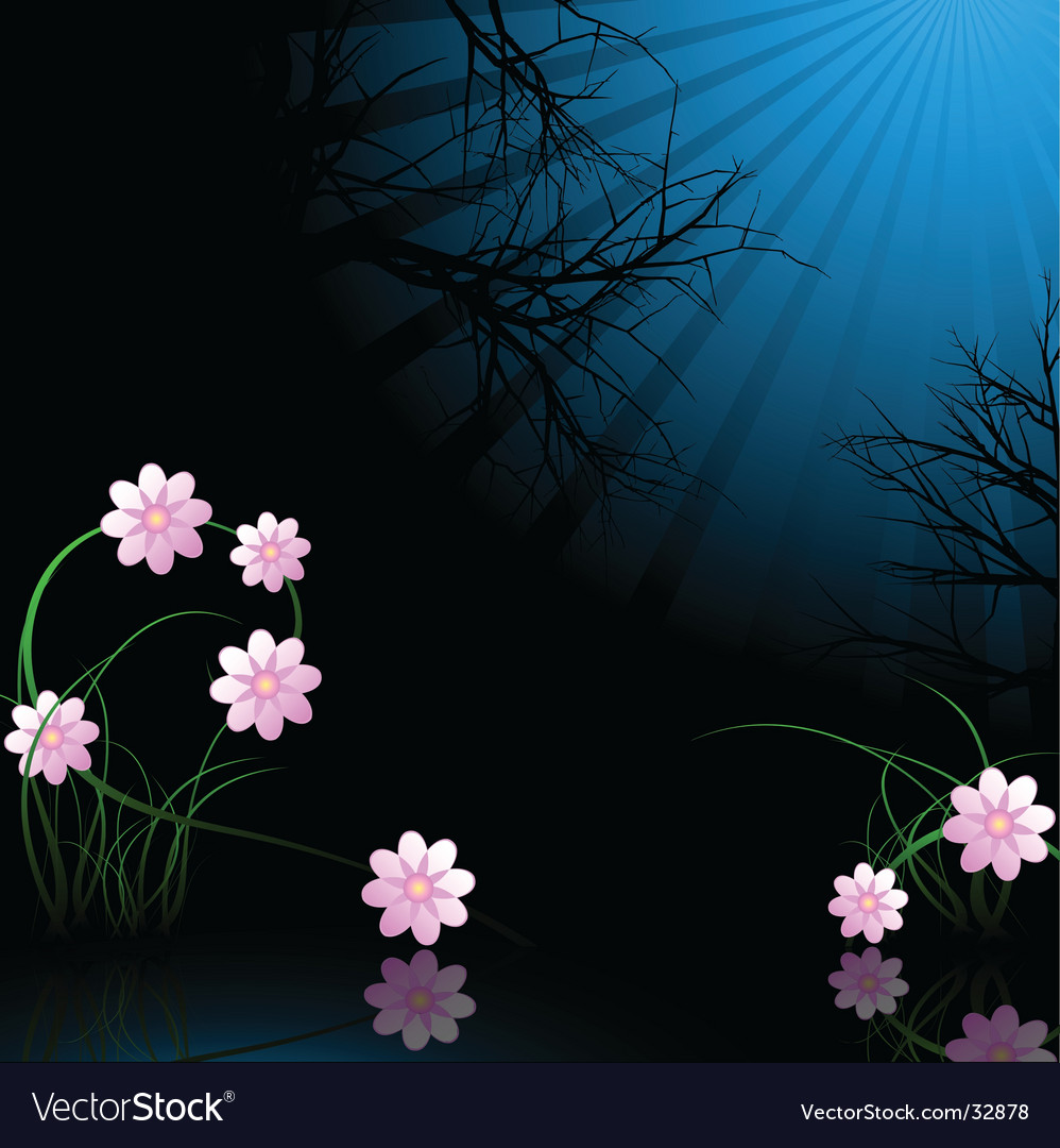 Winter midnight flowers vector | Price: 1 Credit (USD $1)