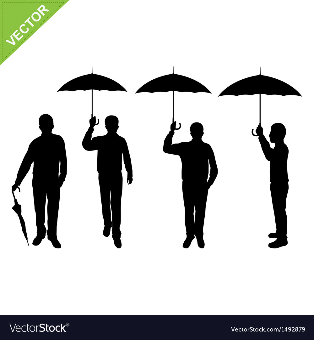Business man silhouettes holding umbrella vector | Price: 1 Credit (USD $1)