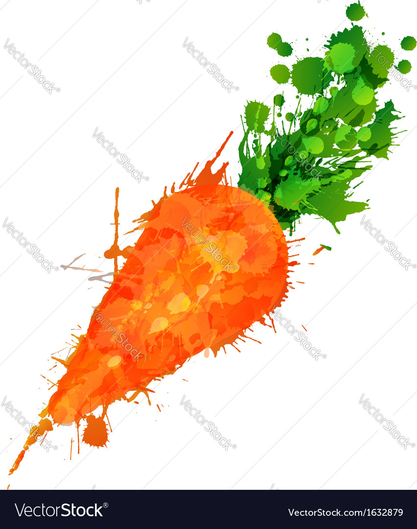 Carrot made of colorful splashes vector | Price: 1 Credit (USD $1)