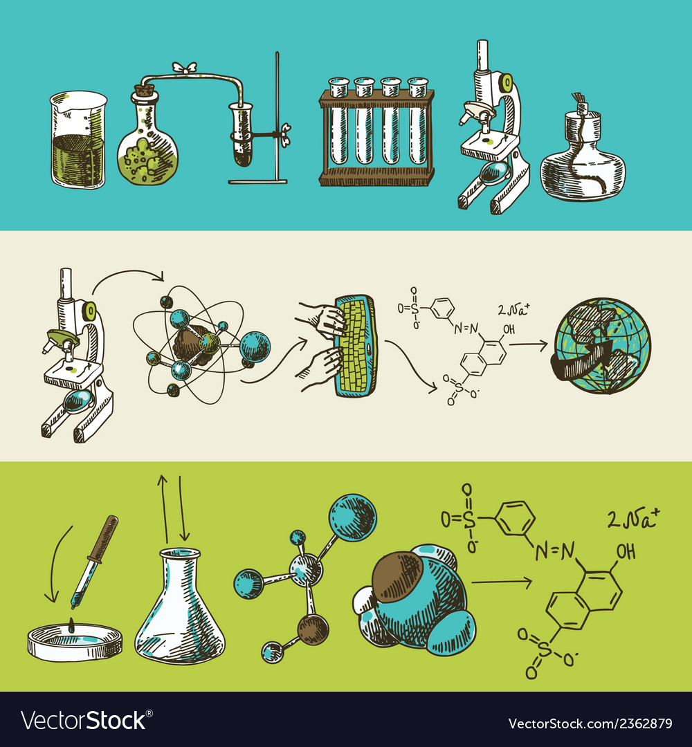 Chemistry research sketch banners set vector | Price: 3 Credit (USD $3)