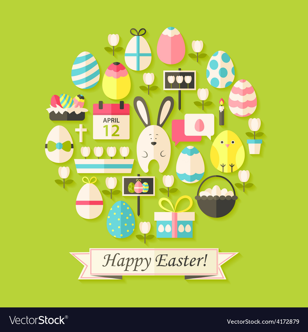 Easter holiday card with flat icons set egg shaped vector | Price: 1 Credit (USD $1)