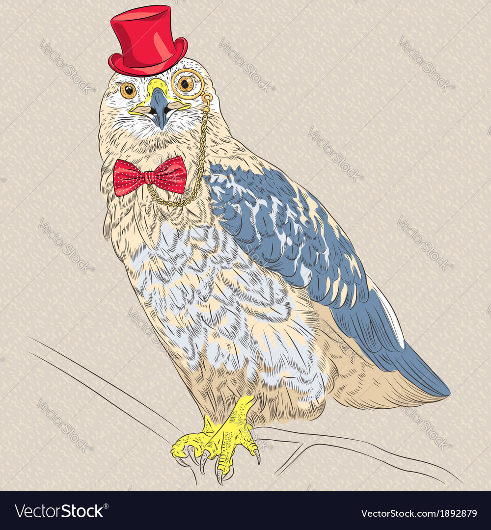 Funny cartoon hipster bird rough-legged buzzard vector | Price: 1 Credit (USD $1)