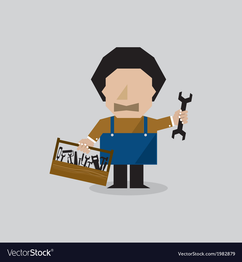 Worker man with toolbox vector | Price: 1 Credit (USD $1)