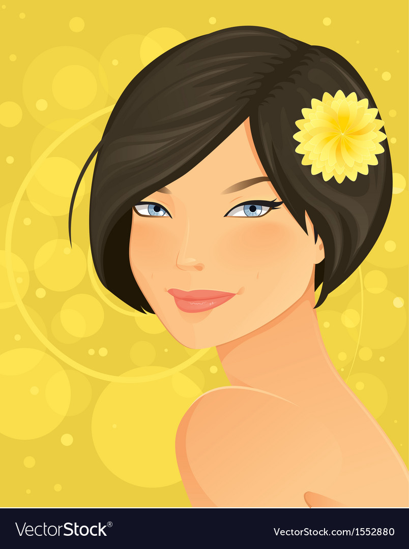 Beautiful brunette woman portrait vector | Price: 5 Credit (USD $5)