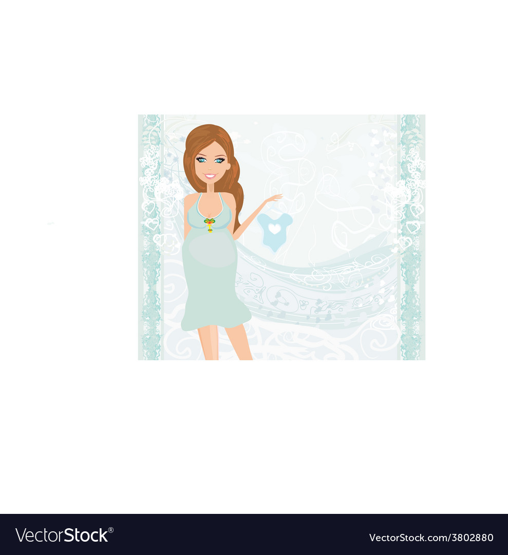 Beautiful pregnant woman on shopping for her new vector | Price: 1 Credit (USD $1)