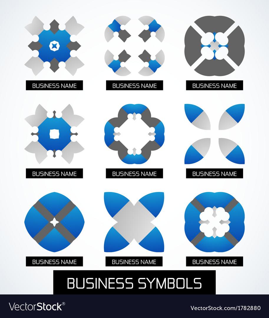 Business symbols icon set geometric concept vector | Price: 1 Credit (USD $1)