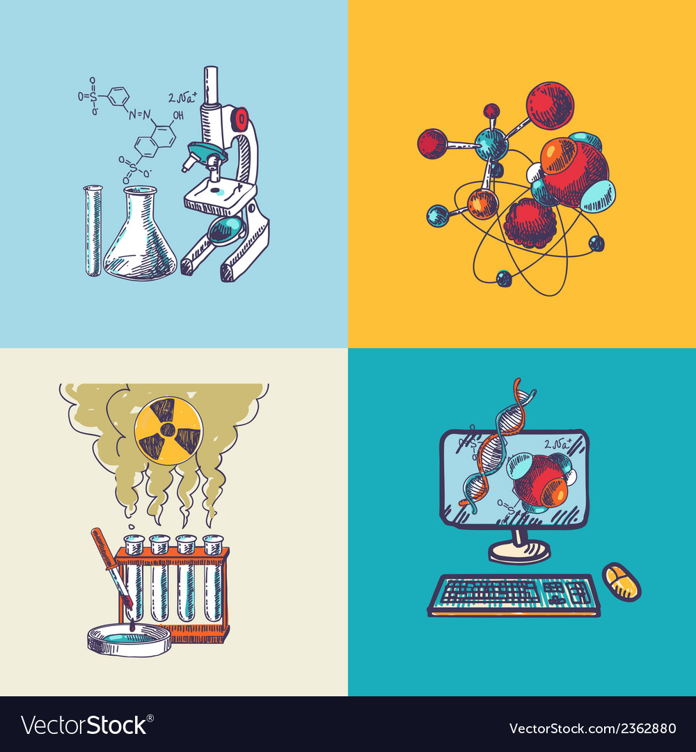 Chemistry icon sketch composition vector | Price: 1 Credit (USD $1)