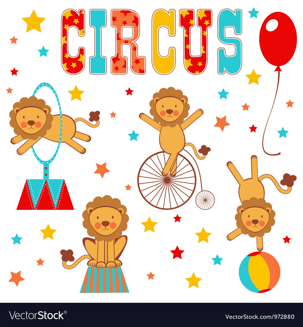 Circus lions vector | Price: 3 Credit (USD $3)