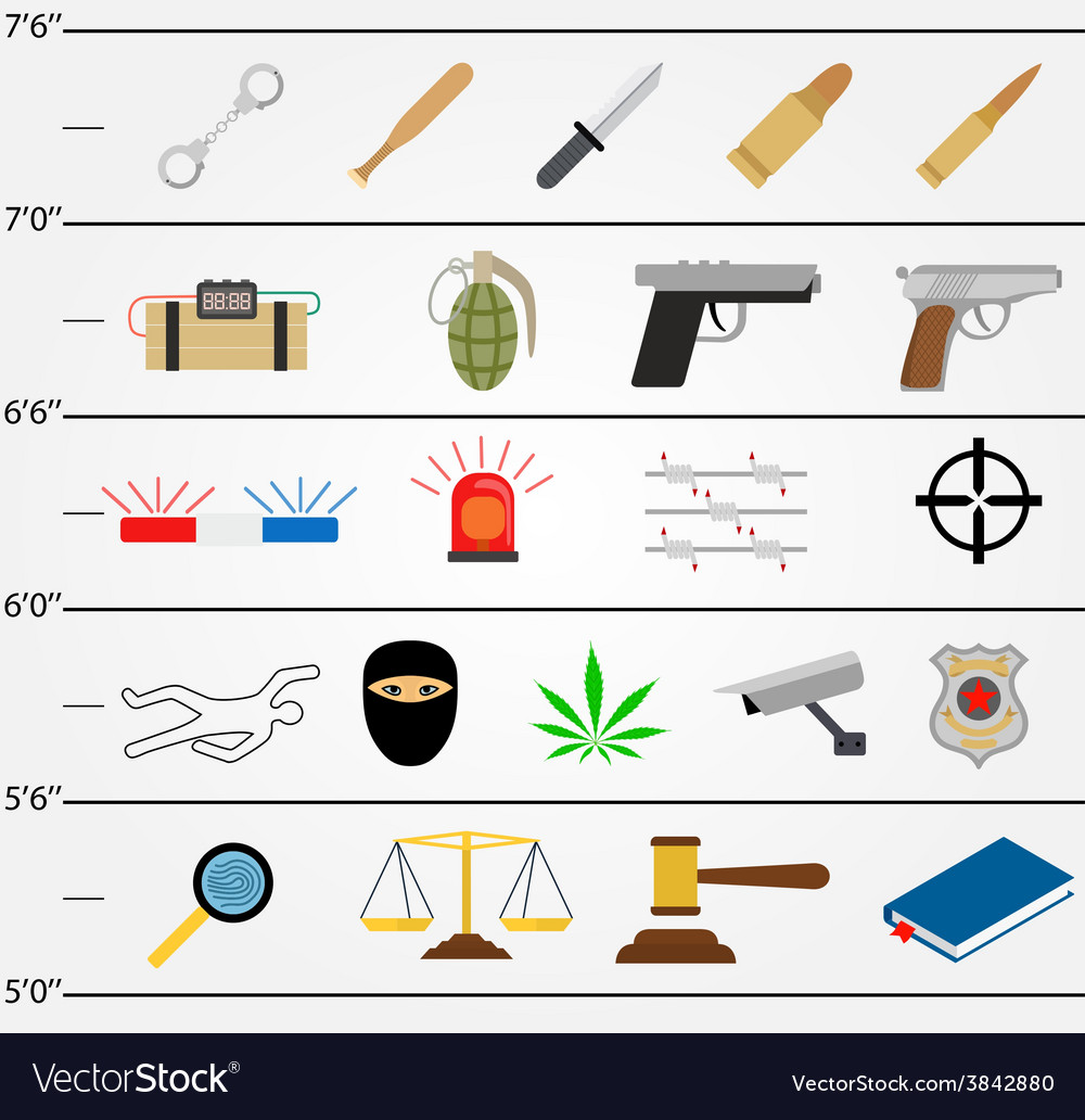 Crime icons in flat colors style vector | Price: 1 Credit (USD $1)
