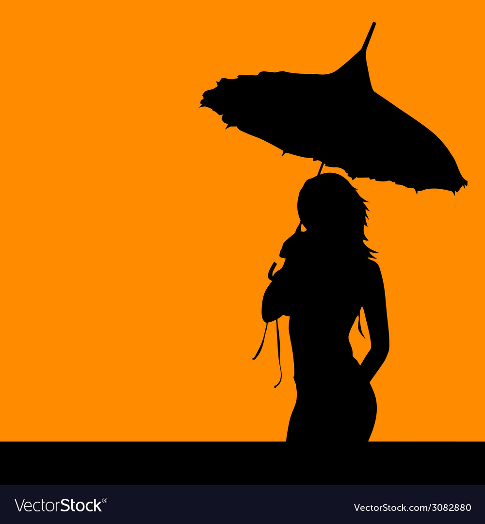 Girl silhouette with umbrella vector | Price: 1 Credit (USD $1)