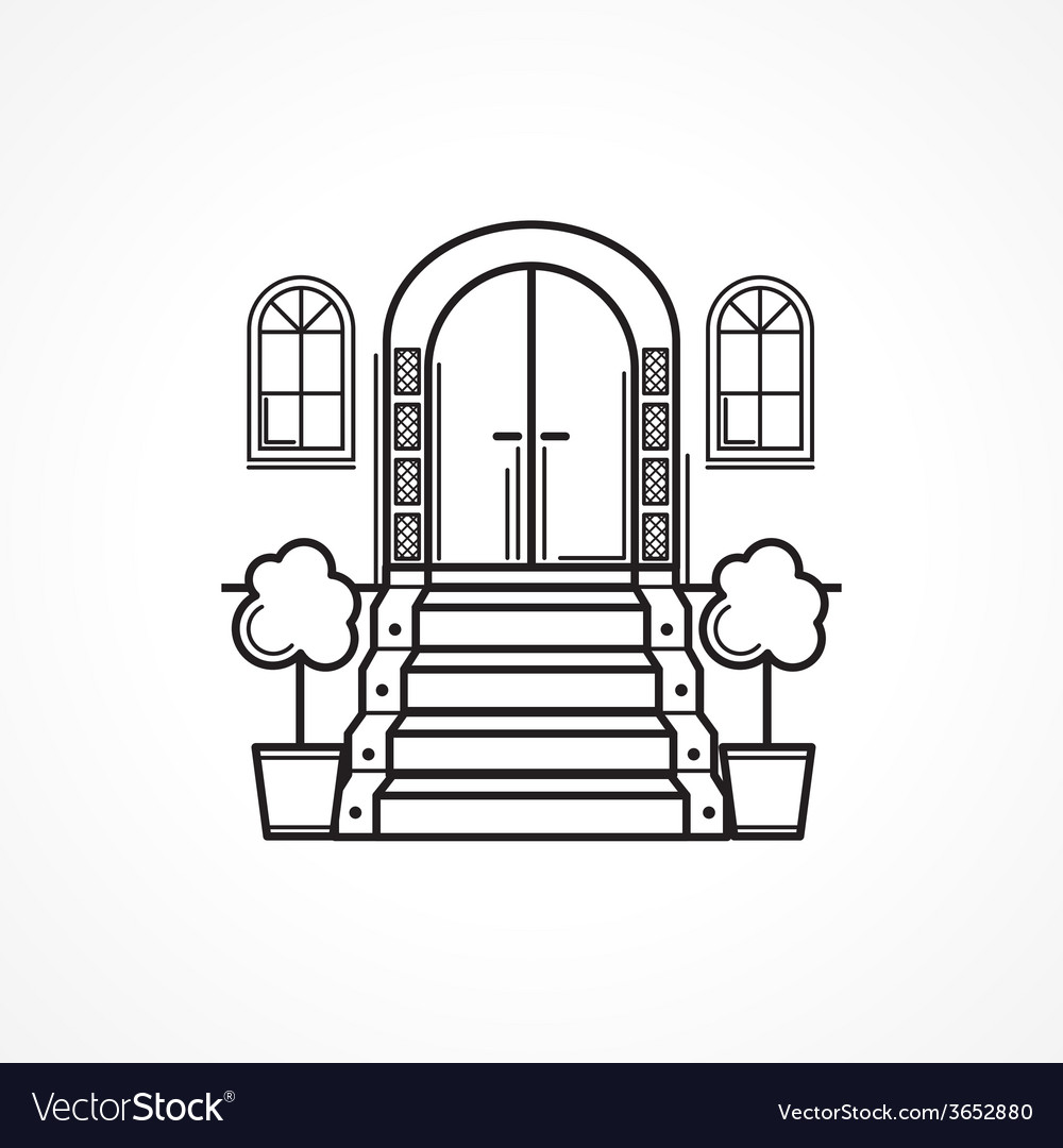 Line icon for front door vector | Price: 1 Credit (USD $1)