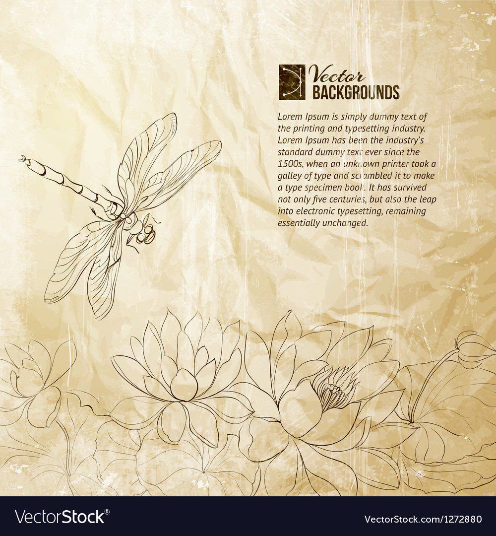 Lotus flower and dragonfly vector | Price: 1 Credit (USD $1)