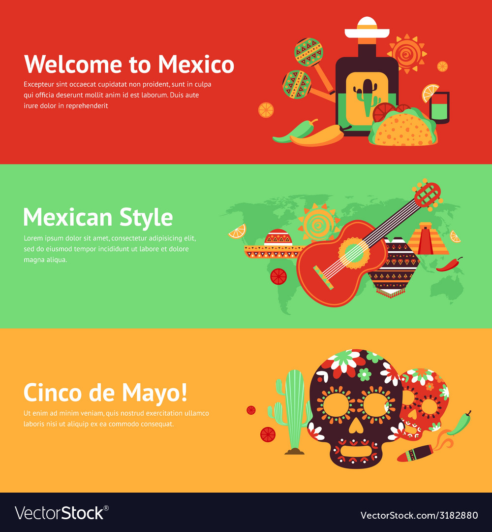 Mexico banner set vector | Price: 1 Credit (USD $1)