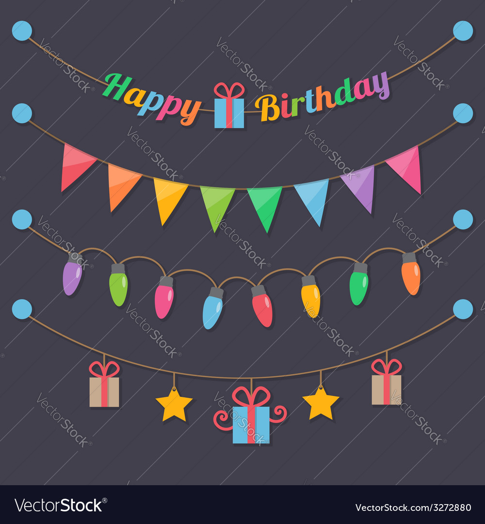 Party happy birthday light bulbs vector | Price: 1 Credit (USD $1)
