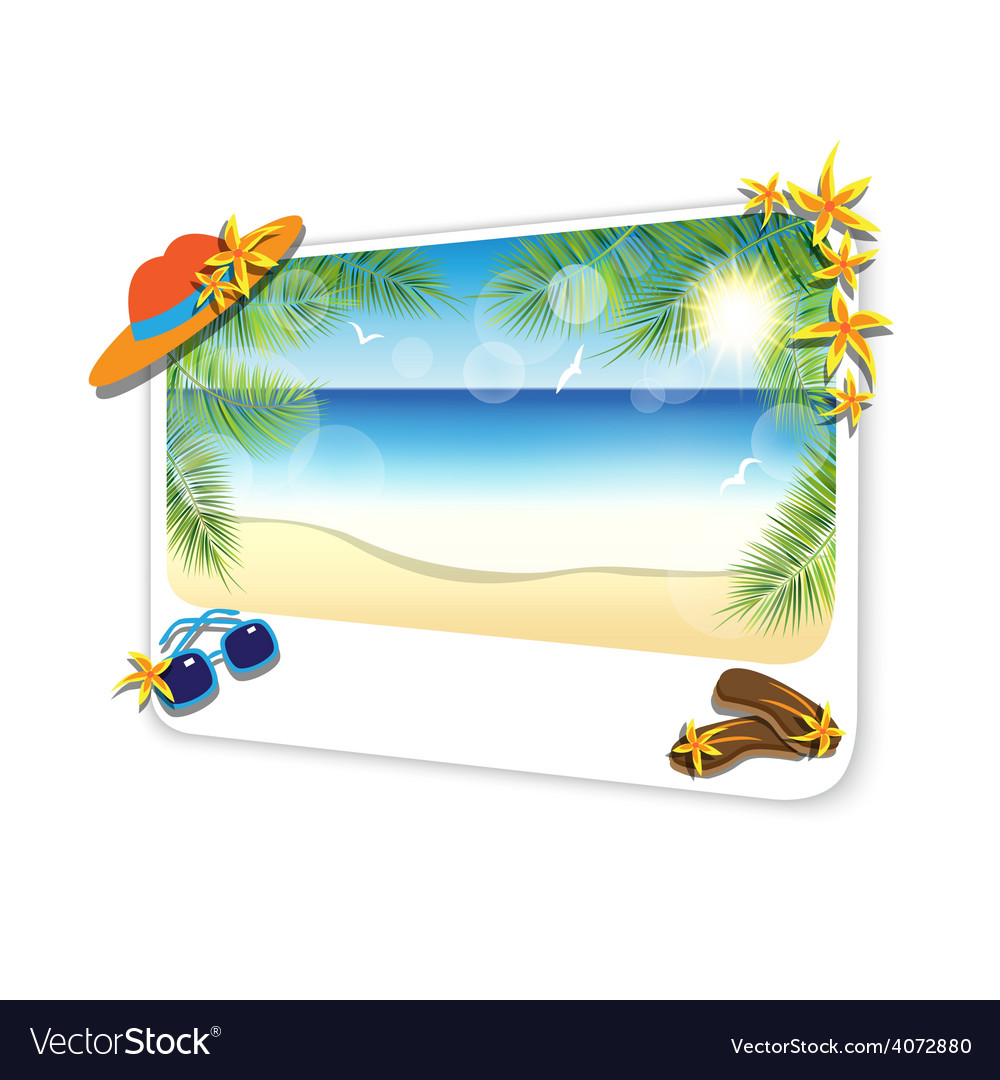 Picture of the sand beach landscape on white vector | Price: 3 Credit (USD $3)