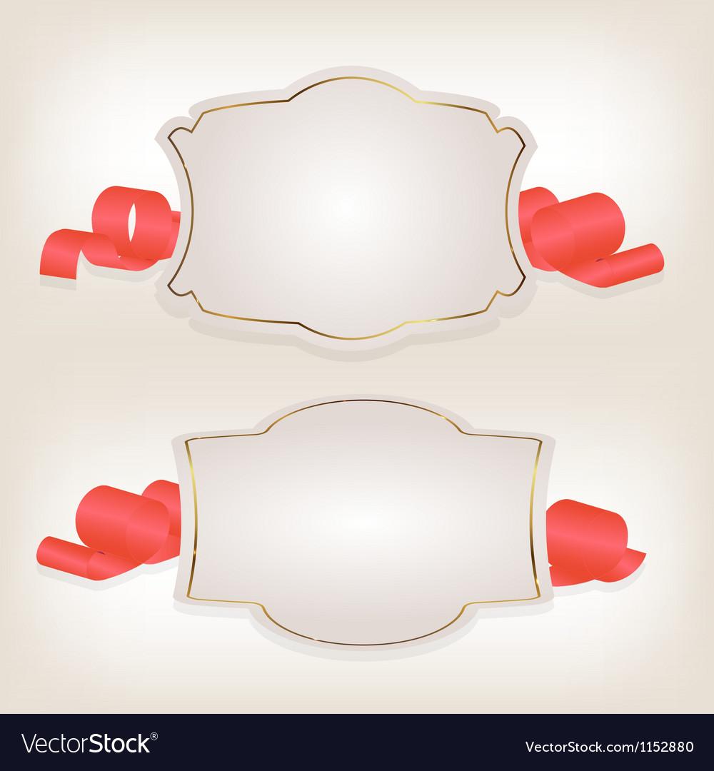Romantic label with ribbon vetor vector | Price: 1 Credit (USD $1)