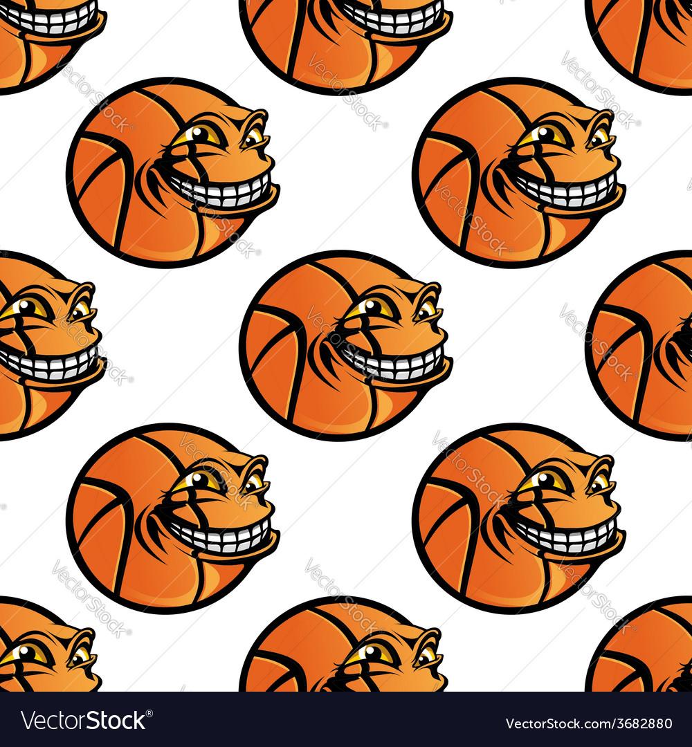 Seamless cartoon basketball ball repeating vector   Price: 1 Credit (USD $1)