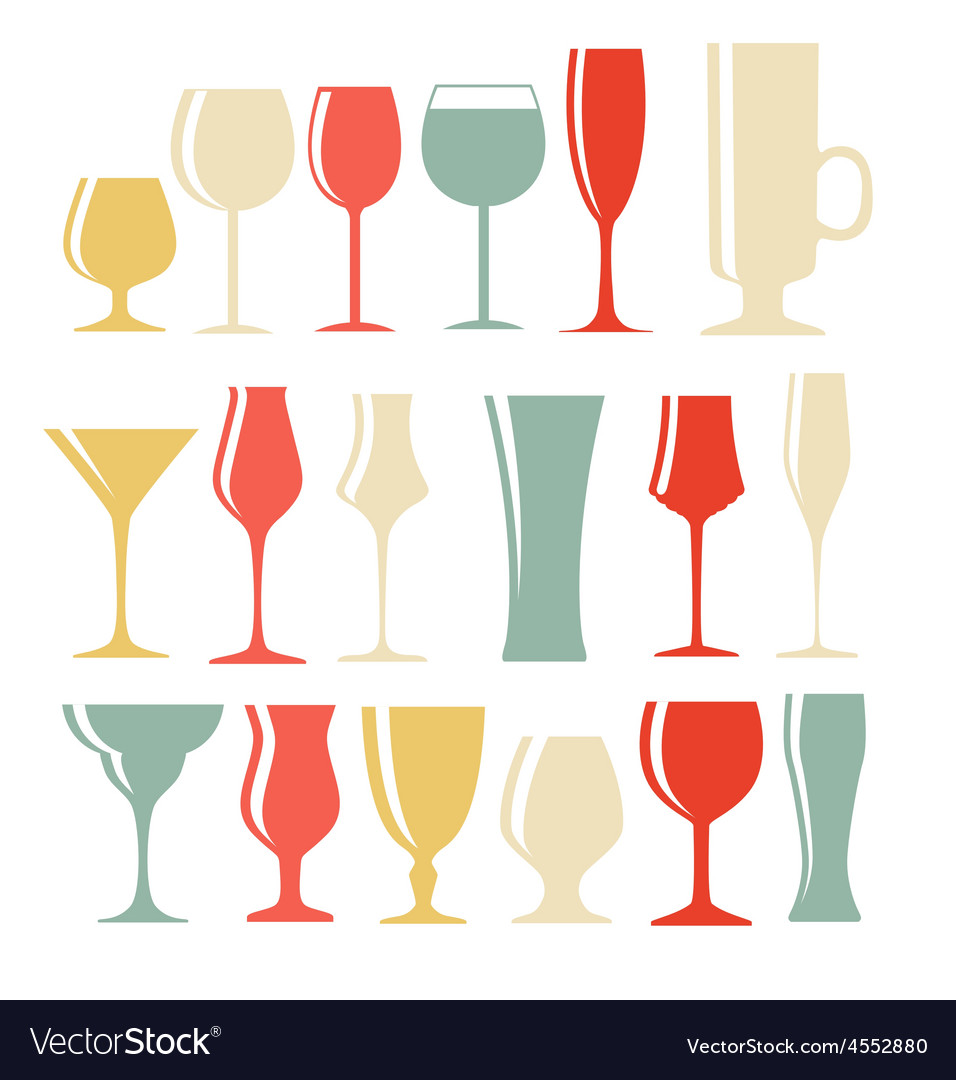 Set of black alcoholic glass silhouette vector | Price: 1 Credit (USD $1)