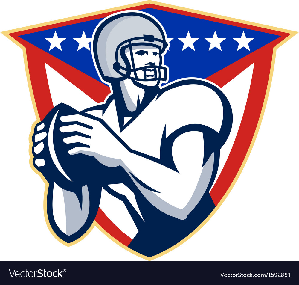 American football quarterback throw ball vector | Price: 1 Credit (USD $1)