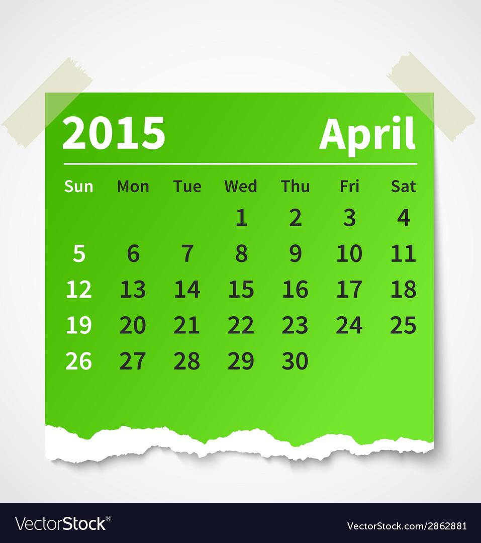 Calendar april 2015 colorful torn paper vector | Price: 1 Credit (USD $1)