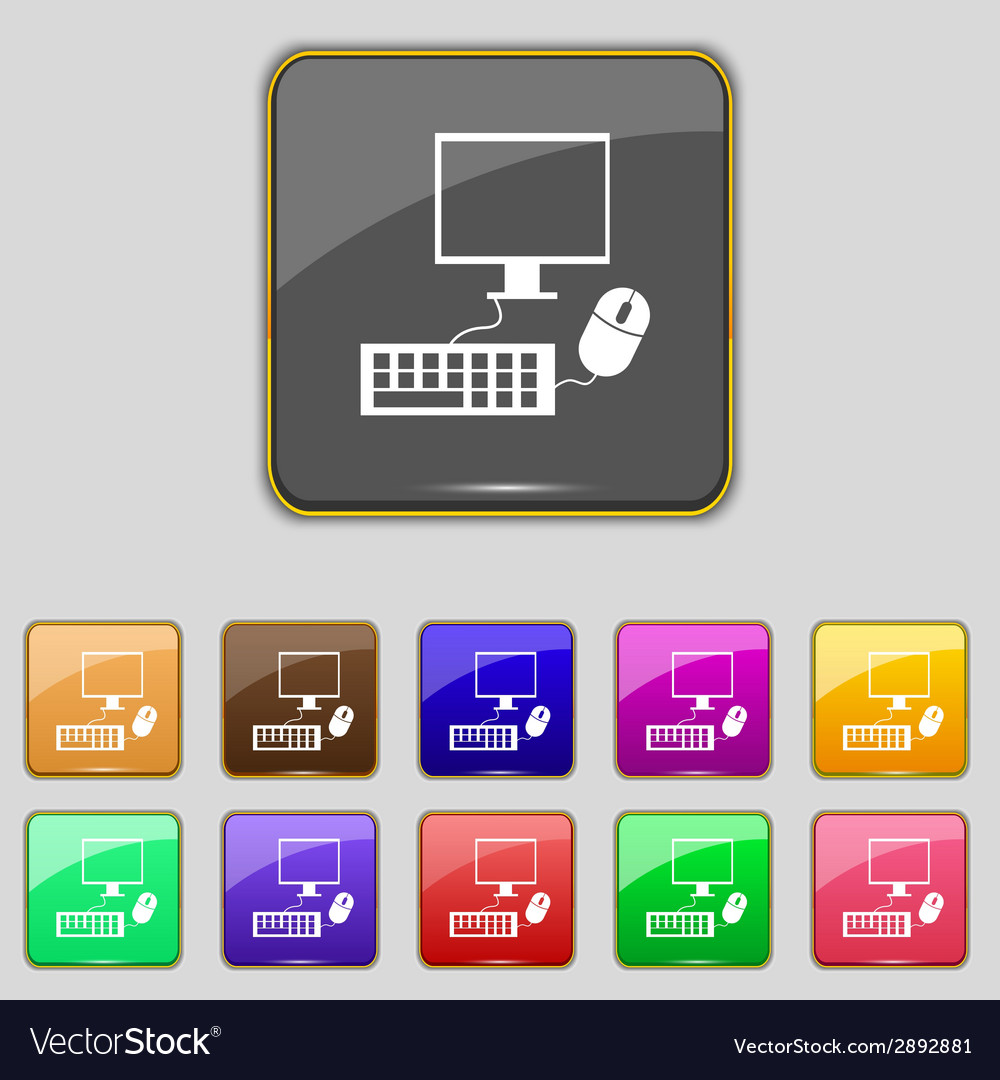 Computer widescreen monitor keyboard mouse sign vector | Price: 1 Credit (USD $1)