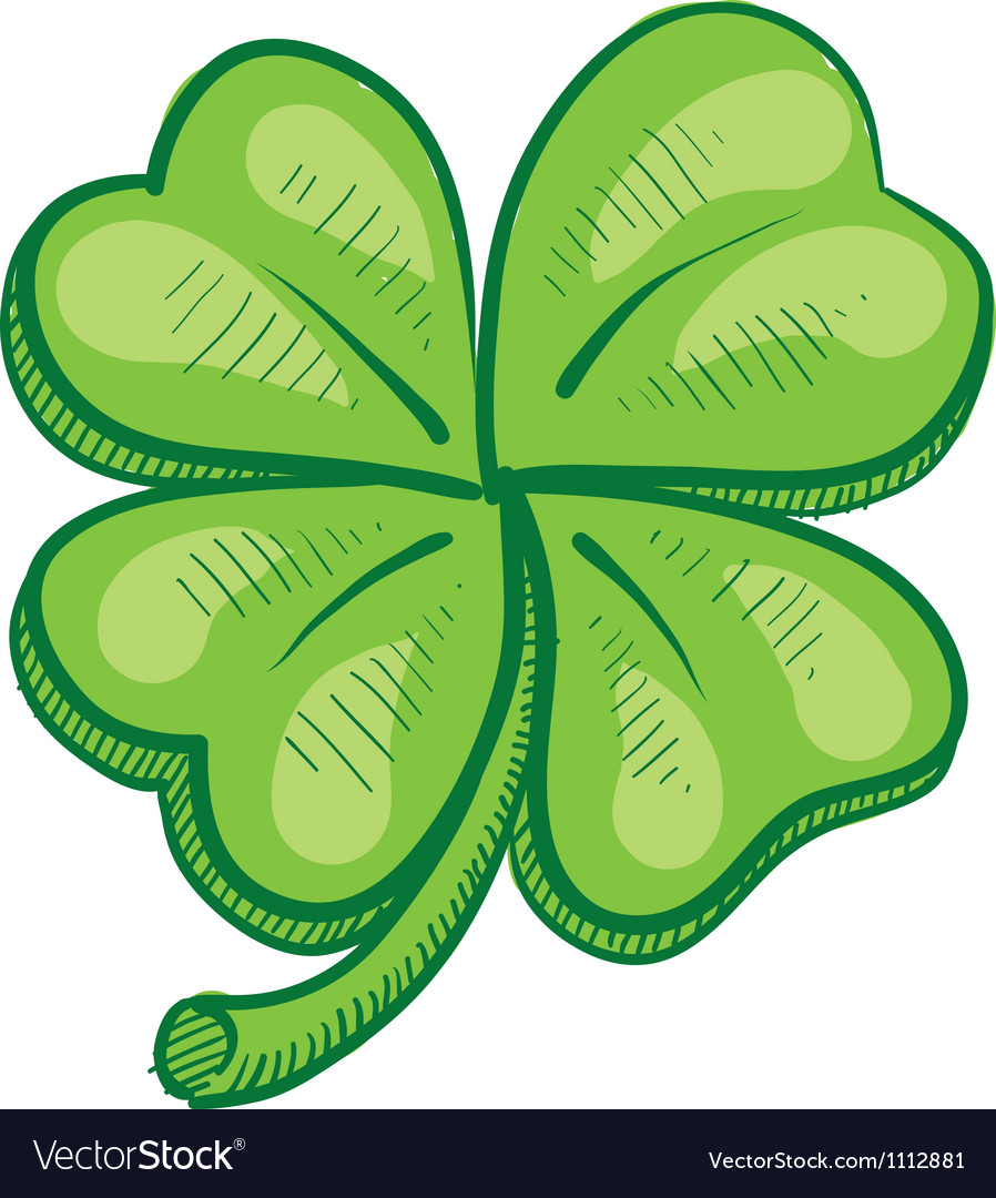 Doodle four leaf clover lucky vector | Price: 1 Credit (USD $1)