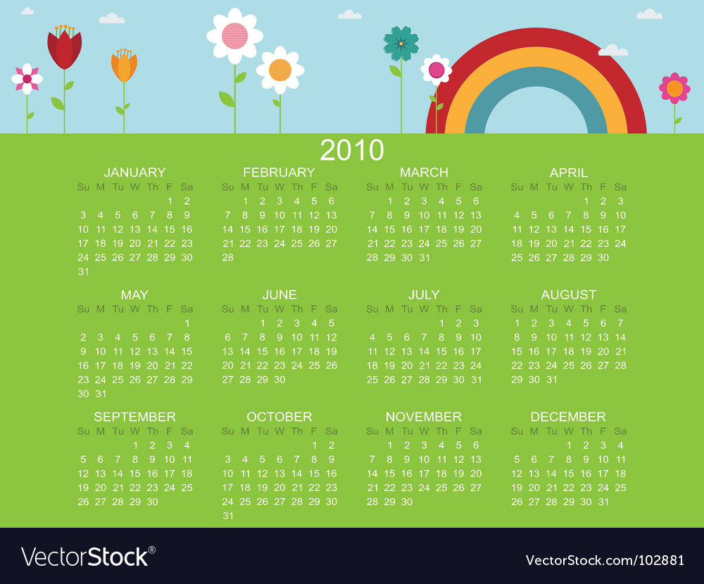 Floral calender for 2010 vector | Price: 1 Credit (USD $1)