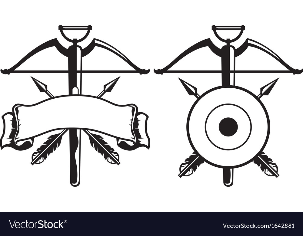 Insignia with crossbow vector | Price: 1 Credit (USD $1)