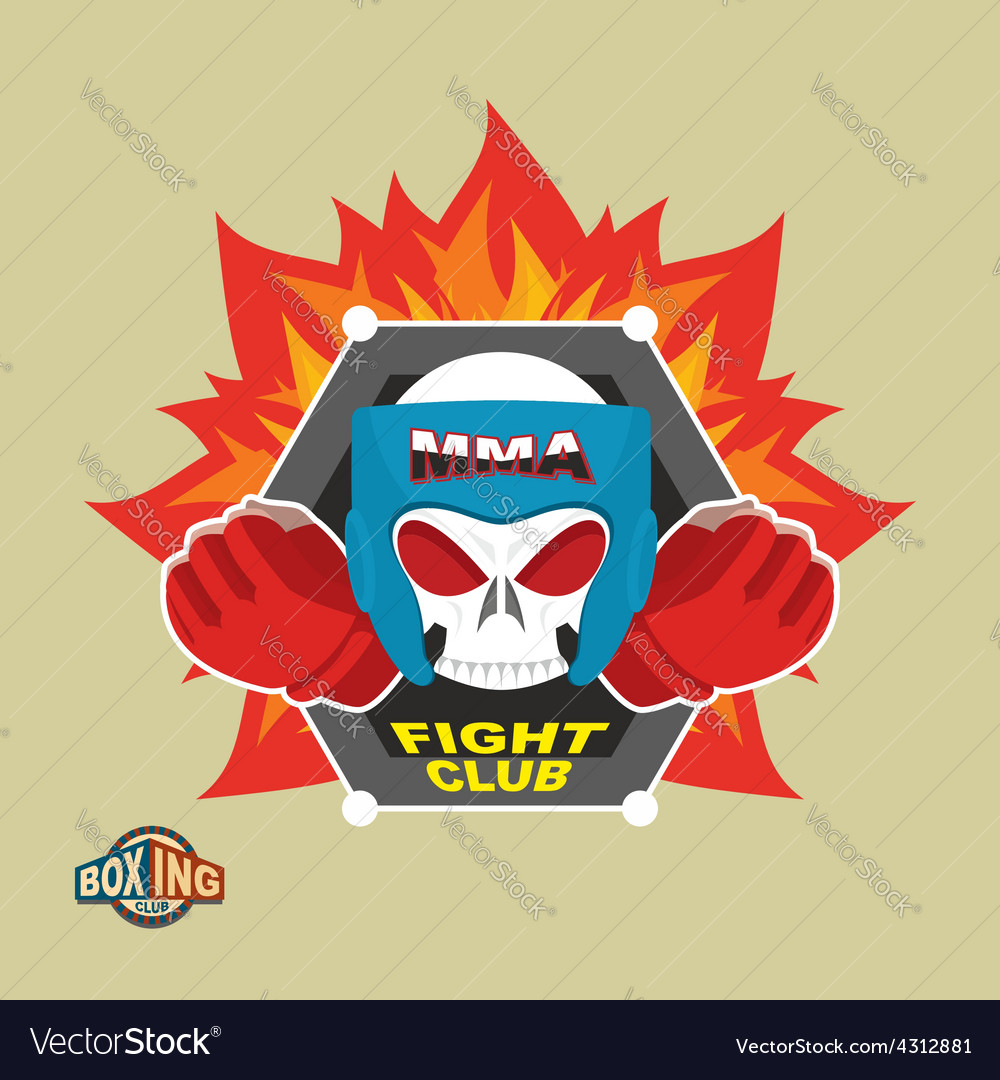 Mixed martial arts labels skull boxing helmet mma vector | Price: 1 Credit (USD $1)