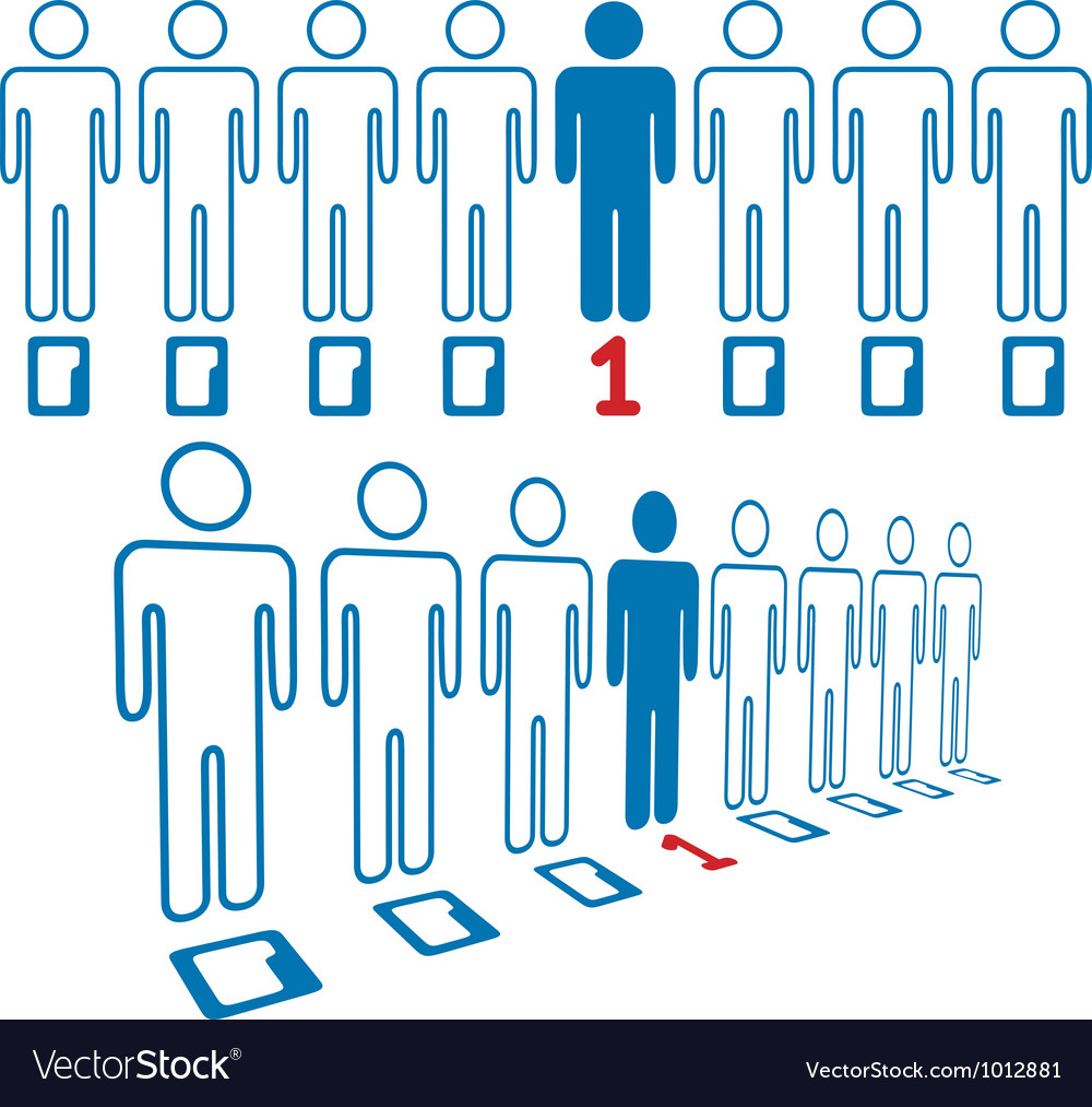 Person stands out line of digital people vector | Price: 1 Credit (USD $1)