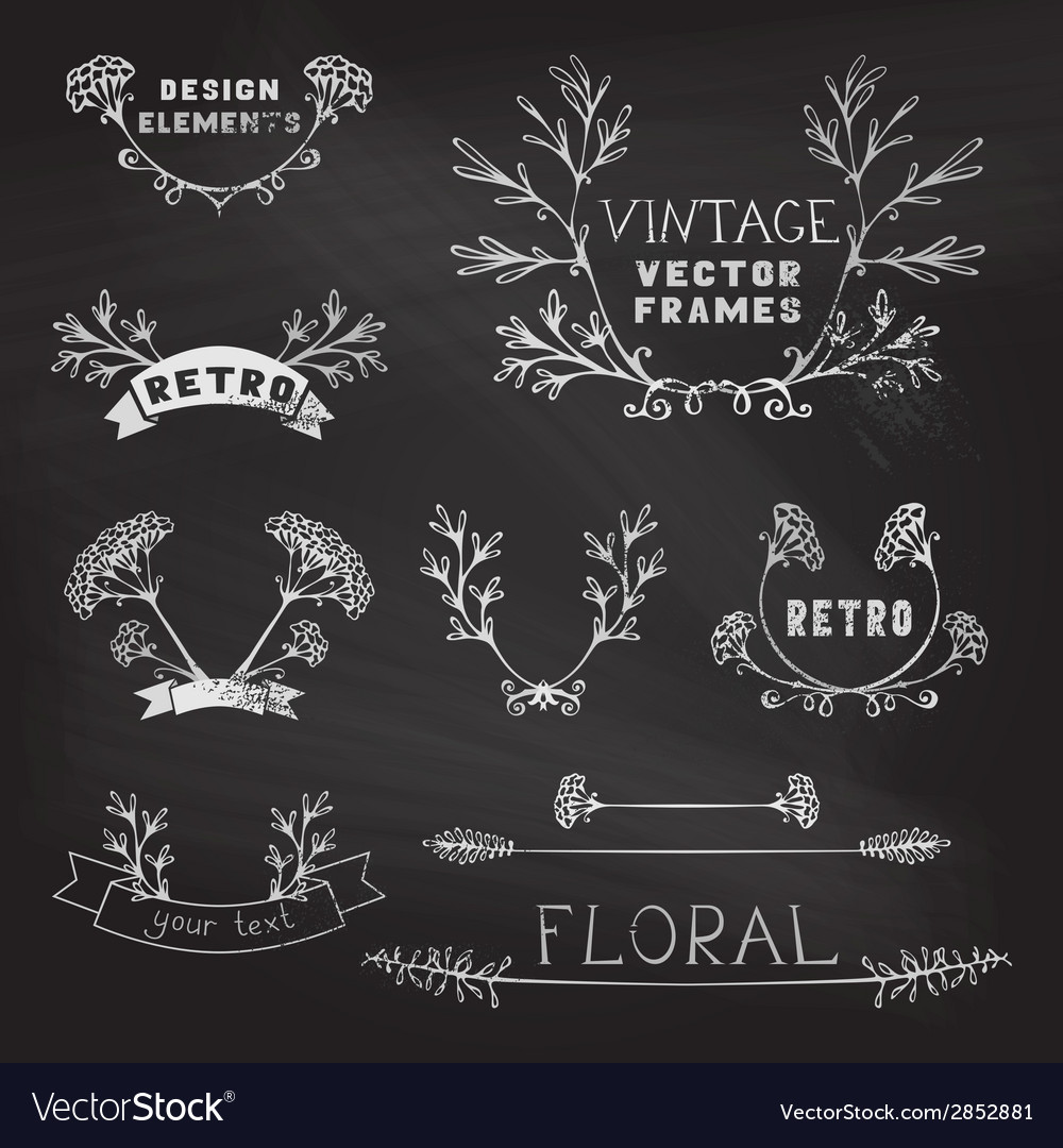 Set of chalk floral design elements vector | Price: 1 Credit (USD $1)
