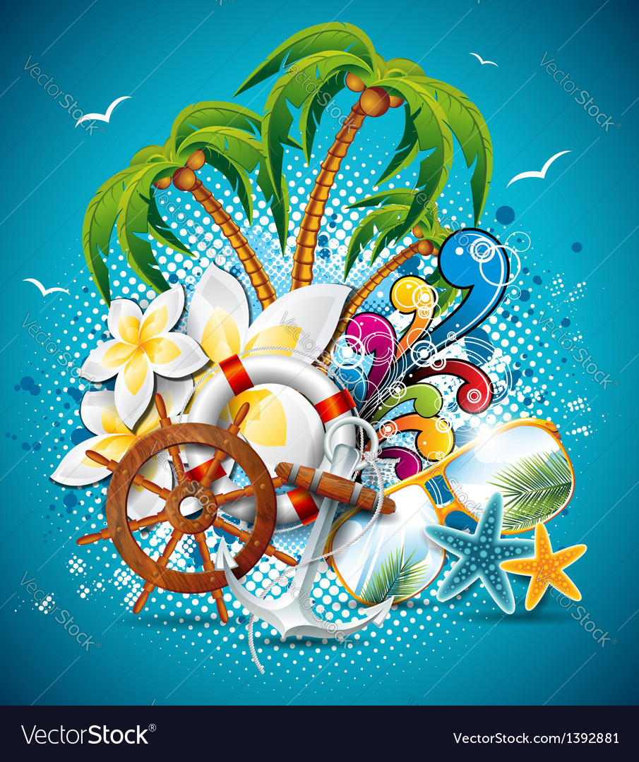 Summer holiday flyer design with palm trees vector | Price: 3 Credit (USD $3)