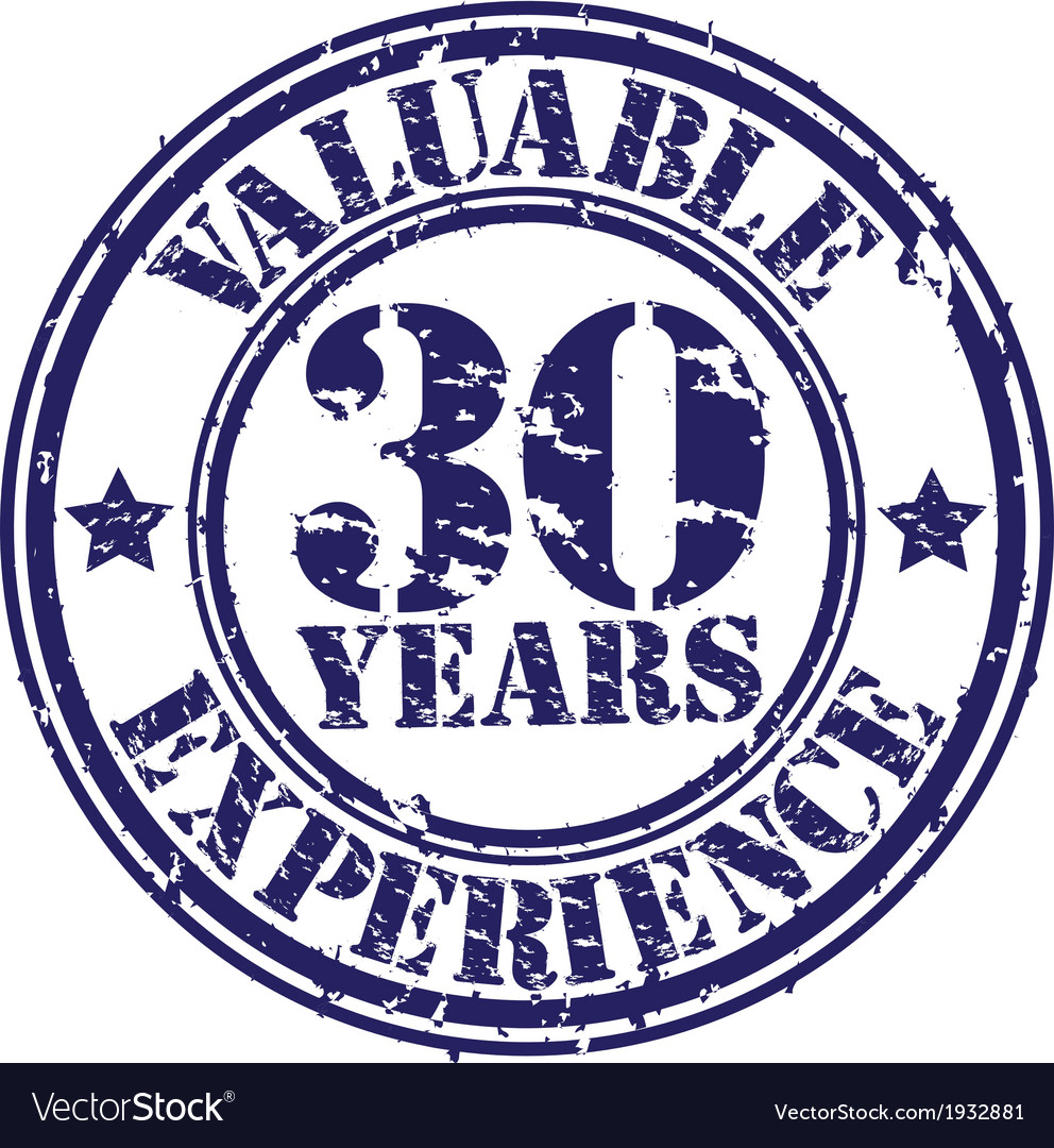 Valuable 30 years of experience rubber stamp vect vector | Price: 1 Credit (USD $1)
