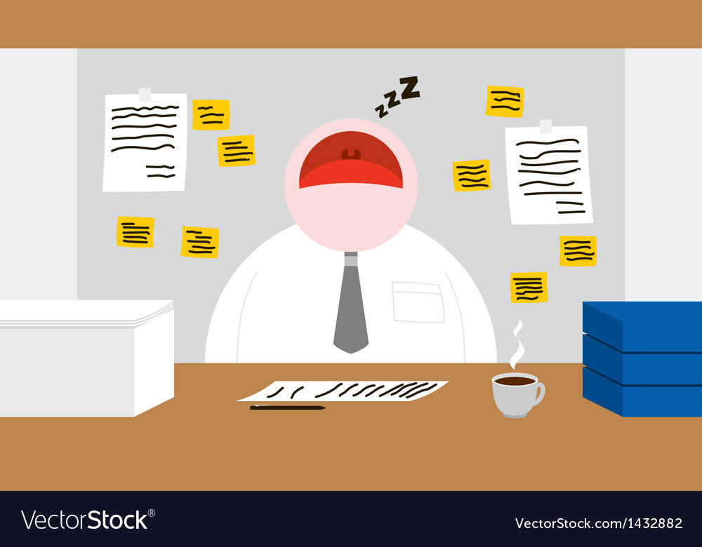 A worker sleeping in his office room vector | Price: 1 Credit (USD $1)