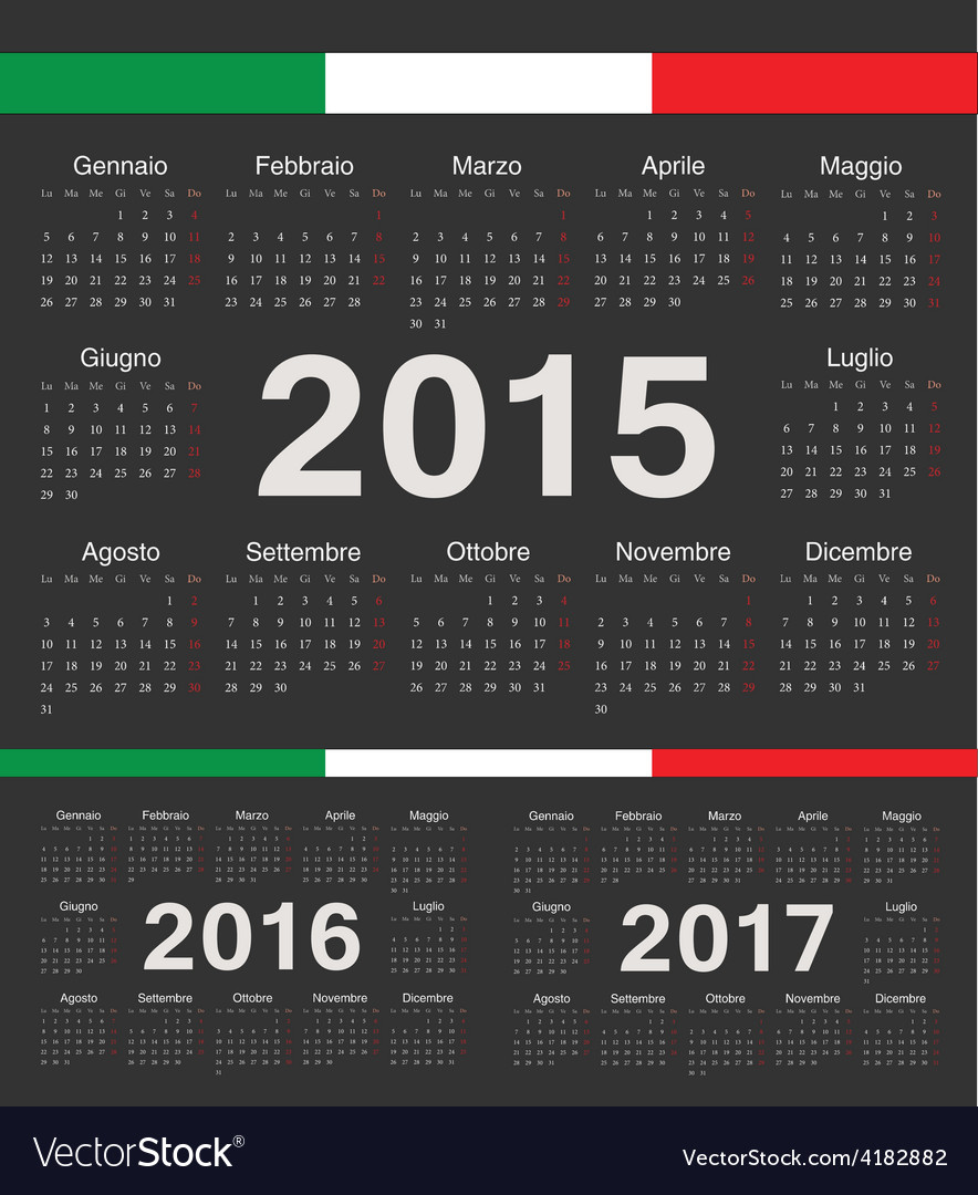 Black italian circle calendars 2015 2016 2017 vector | Price: 1 Credit (USD $1)