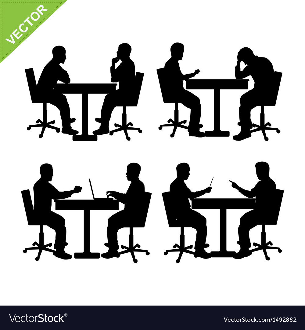 Business man meeting silhouette vector | Price: 1 Credit (USD $1)