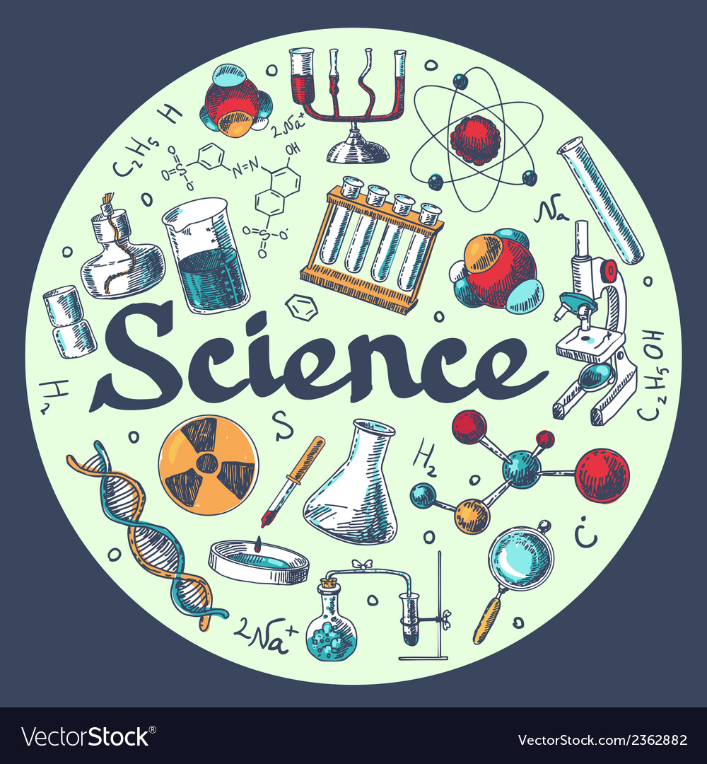 Chemistry research emblem template sketch vector | Price: 1 Credit (USD $1)