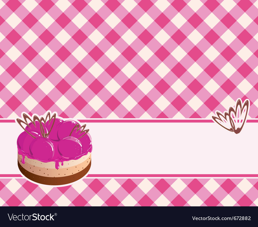 Delicious cake with berry jam on a plaid backgroun vector | Price: 1 Credit (USD $1)